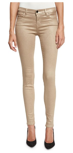 J Brand 620 Mid-Rise Super Skinny Metallic Jeans in gold patte