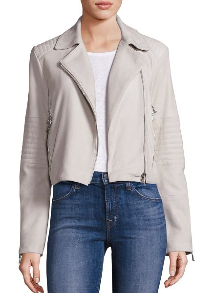 J Brand aiah suede jacket in clay - Versatile jacket crafted from plush suede. Notched...