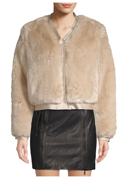 J Brand ashbey faux fur jacket in champagne - From the Saks IT LIST. STATEMENT OUTERWEAR. From sleek...