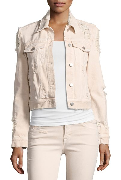 "J Brand Harlow Distressed Jean Jacket in light pink - J Brand Jeans ""Harlow"" classic jean jacket with heavy..."