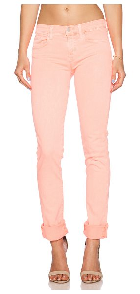 "J Brand Jude skinny in coral - 94% cotton 4% poly 2% elastane. 12"""" at the knee and..."