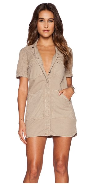 J Brand Kona utility dress in taupe - Cotton blend. Unlined. Button front closure. Double...