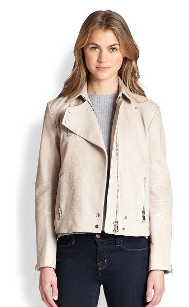 J Brand Lais leather motorcycle jacket in stone