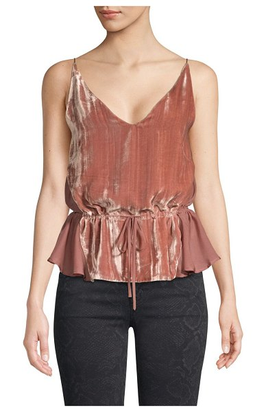 J Brand lucy mixed media velvet camisole in deepblush - Strappy cami with drawstring waist boasts a velvet front...