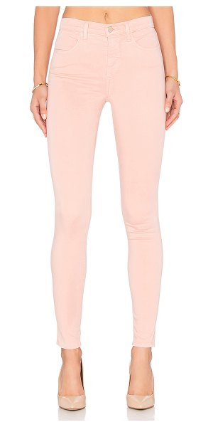 "J Brand Maria high rise skinny in pink - 61% lyocell 36% cotton 3% elastane. 12"""" in the knee..."