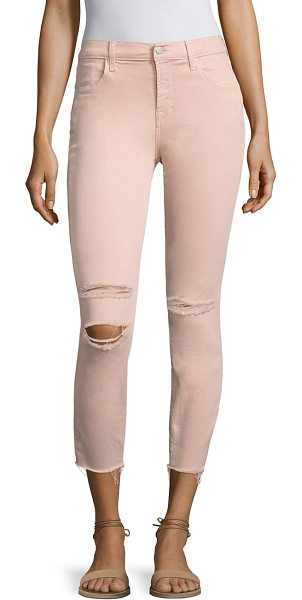 J Brand alana distressed skinny jeans in peach whip mercy - EXCLUSIVELY AT SAKS FIFTH AVENUE. Elongating high-rise...