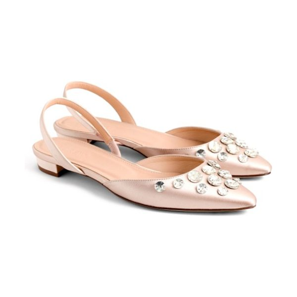 J.Crew embellished slingback flat in faded blossom satin - Sparkling embellishments elevate a pretty slingback flat...