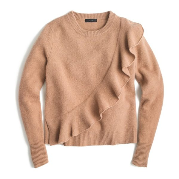 J.Crew j.crew harold ruffle boiled wool sweater in saddle - This supercute sweater is also super cozy thanks to warm...