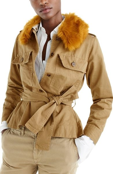 J.Crew j.crew peplum chino faux fur collar jacket in ridge khaki - This chic chino jacket boasts the ease of your favorite...