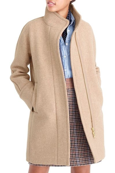 J.Crew j.crew stadium cloth cocoon coat in sandstone - A cozy cocoon coat delivers warmth without bulk, thanks...