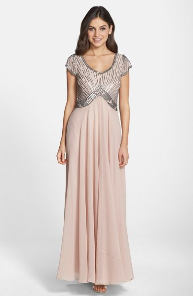 J Kara embellished chiffon fit & flare gown in blush/ mercury - Glinting sequins and glass beads stripe the comely...