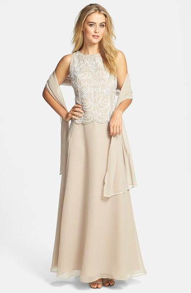 J Kara embellished chiffon a-line gown with shawl in champagne/ white/ silver - Crystal-clear beads, faux pearls and satin embroidery...