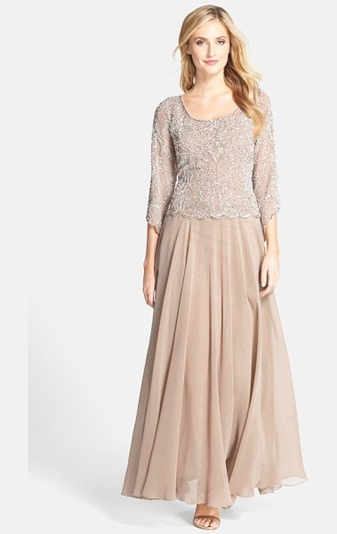 J Kara embellished mock two-piece gown in champagne/ white/ silver - Gleaming beads light up a pastel chiffon gown,...
