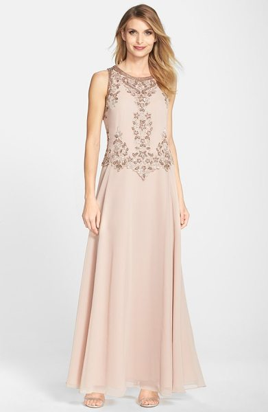 J Kara embellished two-piece a-line gown in blush - Ornate beadwork scrolls around the bodice of an elegant...