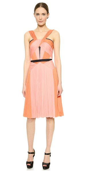 J. Mendel Asymmetrical color pleat dress in kitten pink/fire - Rich, tonal silk panels put a lush finish on this...