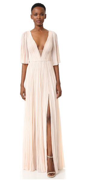 J. Mendel deep v neck pleated gown in blush - Dense pleating brings striking volume to this elegant J....