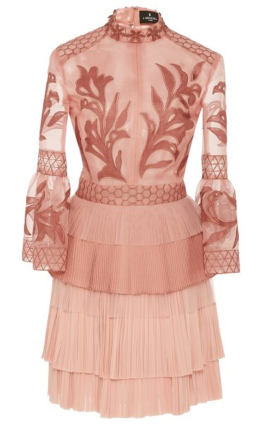 J. Mendel Embroidered Organza Mock Neck Dress in pink - This *J. Mendel* dress features a mock neck and a sheath...