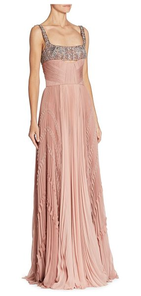 J. MENDEL embroidered silk gown - Sequin embroidery accents this pleated silk gown....