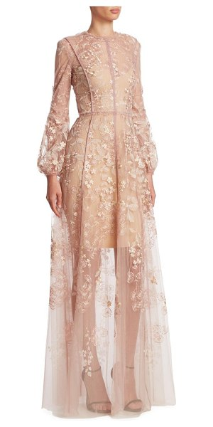 J. Mendel floral embroidered gown in blush - Semi-sheer gown with floral embroidery. Crewneck. Long...