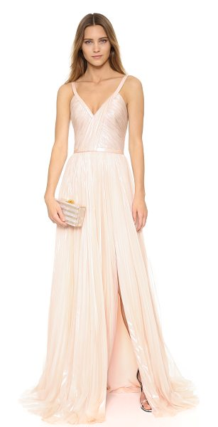 J. Mendel genevieve gown in champagne - A striking J. Mendel gown with a glossy sheen. Pleating...