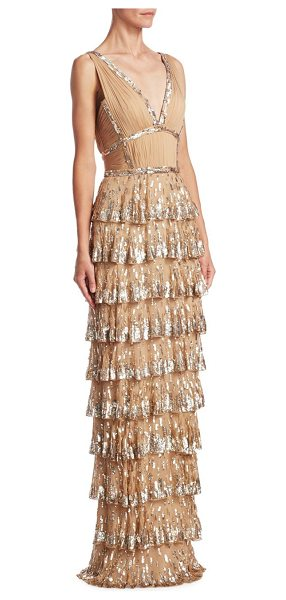 J. Mendel sequin silk gown in gold - Silk sequin embellished gown with tiered skirt. Deep...