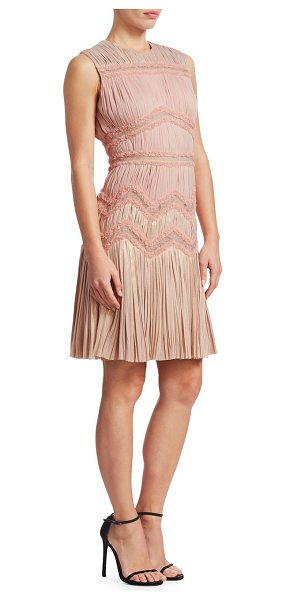 J. Mendel sleeveless multi-pleated sheath dress in blush - Pleats and ruffles adorn dress. Crewneck. Sleeveless....