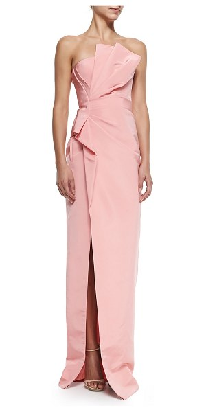J. Mendel Strapless draped-side column gown in blush - Silk crepe gown by J. Mendel with right-side drape....