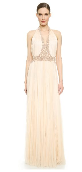 J. Mendel V neck pleated gown in kitten pink/rose gold - This elegant J. Mendel gown is crafted in breezy,...