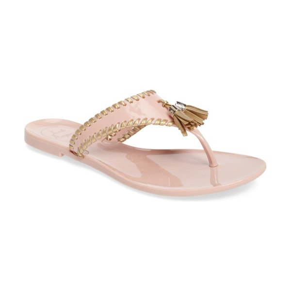Jack Rogers alana waterproof flip flop in midnight/ gold jelly - Playful tassels and whipstitched edging bring casual...
