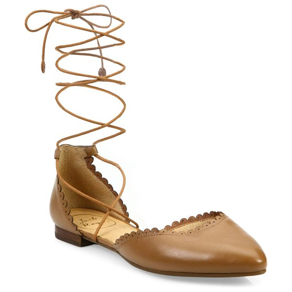 Jack Rogers camille leather lace-up flats in cognac - Scalloped leather d'Orsay flat with wraparound laces....
