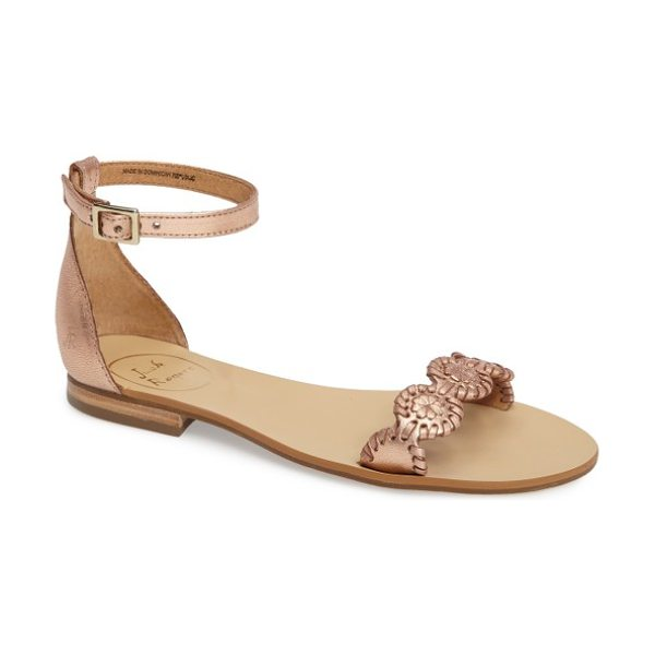 Jack Rogers daphne medallion flat sandal in rose gold leather - A chain of whipstitched leather medallions bridges the...