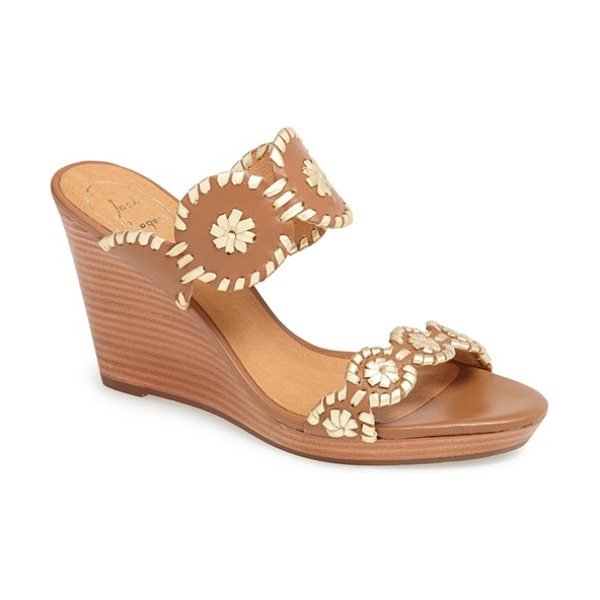Jack Rogers luccia sandal in cognac/ gold - Whipstitched medallions lend easy style to a delectable...