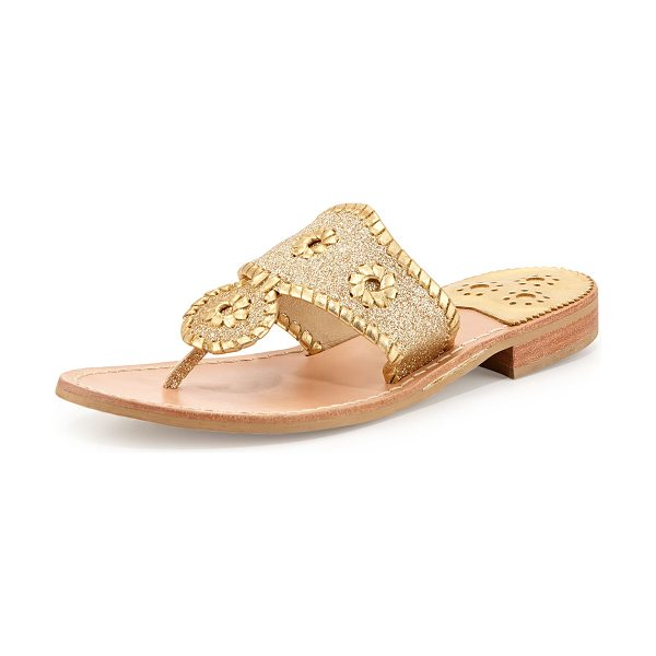 "Jack Rogers Sparkle Thong Sandal in gold - Jack Rogers glitter fabric thong sandal. 0.75"" flat..."