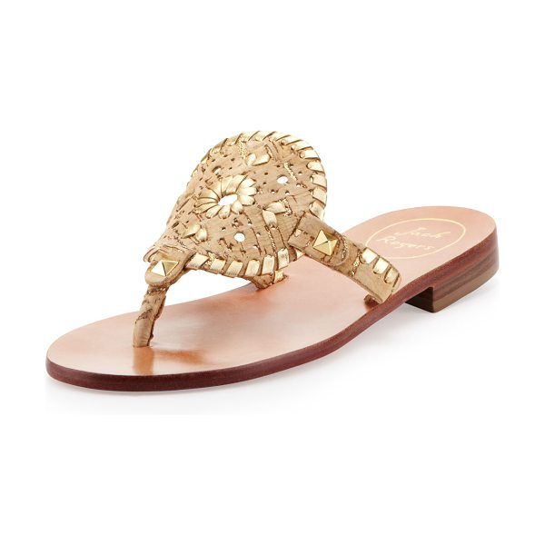 Jack Rogers Georgica cork/metallic thong sandal in cork/gold - Cork and metallic leather. Golden pyramid stud trim....