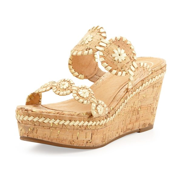 Jack Rogers Leigh Double-Strap Wedge Sandal in gold/cork - Synthetic cork and metallic leather. Two-strap stitched...