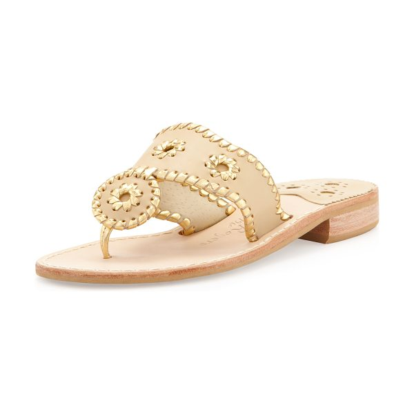 Jack Rogers Nantucket Whipstitch Thong Sandal in baby camel/gold - Metallic whipstitching and pinwheels detail matte...