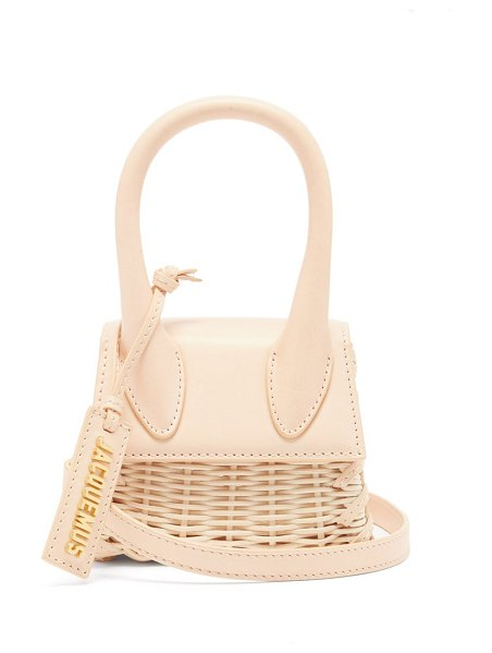 JACQUEMUS chiquito leather and wicker cross-body bag in beige multi