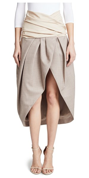 JACQUEMUS melao skirt in beige - Fabric: Crisp plain weave Shirred waist Pleated skirt...