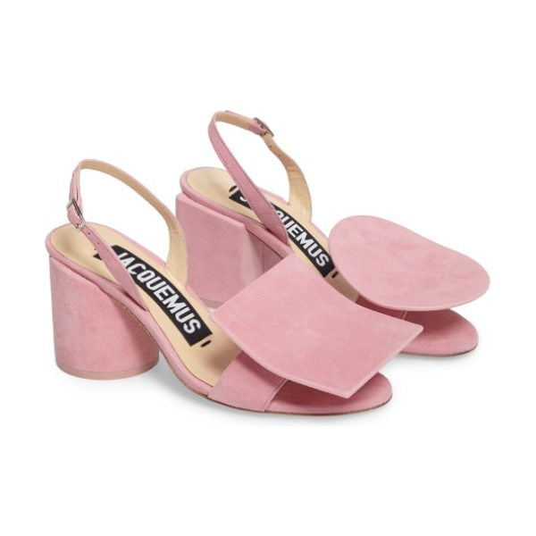JACQUEMUS les rond carre suede sandal in pink - Sculptural, mismatched block heels-one round, one...
