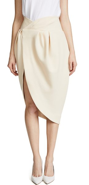 JACQUEMUS pinhao skirt in beige - Fabric: Fine Wool Knit high-and-low profile Hook-and-eye...
