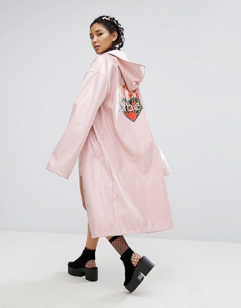 "Jaded London Longline Trench In Patent With Back Print in pink - """"Trench by Jaded London, Smooth woven fabric,..."
