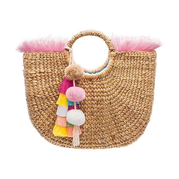 "JADETRIBE Round Fringe Tote - ""Woven straw exterior with knit fabric lining. Open top...."
