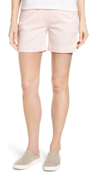 Jag Jeans ainsley pull-on stretch twill shorts in conch shell - Pull-on styling with a high waistband creates a...