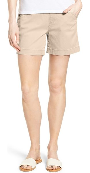 Jag Jeans ainsley pull-on stretch twill shorts in stone - Pull-on styling with a high waistband creates a...