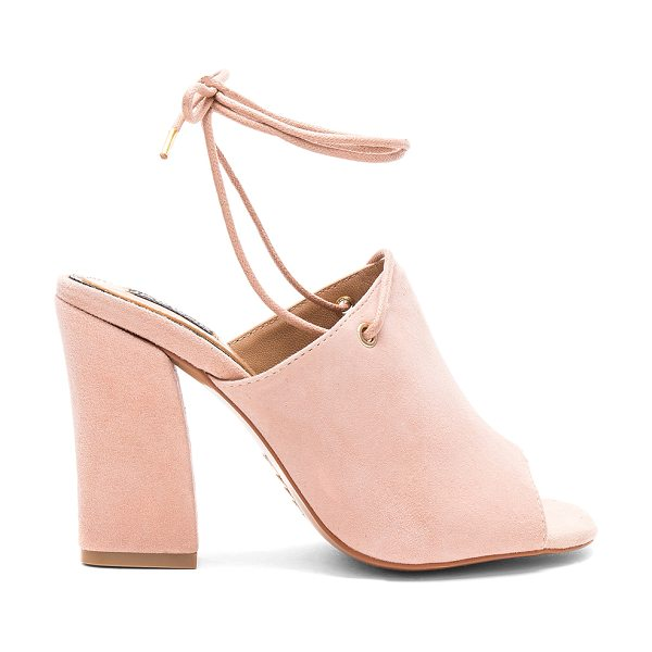 """JAGGAR Pinnacle Heel in blush - """"Suede upper with man made sole. Laced front with wrap..."""