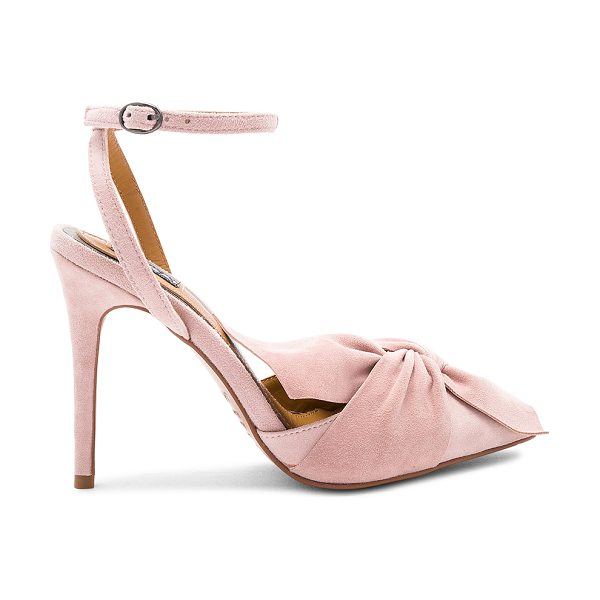 "JAGGAR Union Heel in blush - ""Suede upper with man made sole. Wrap ankle with buckle..."
