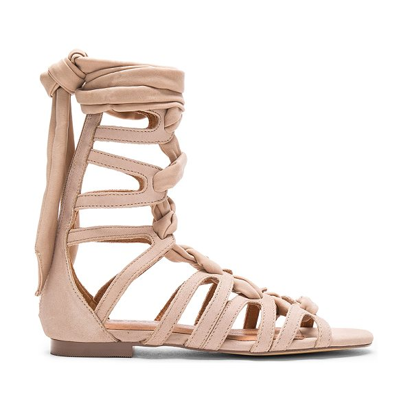 JAGGAR Zigzag Turns Sandal in taupe - Leather upper with man made sole. Textile lace-up front...