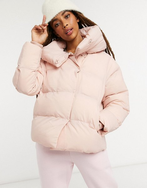 Jakke patricia cropped padded jacket with extreme collar in recycled polyester-pink in pink