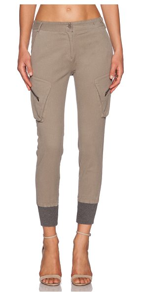 "JAMES JEANS Boyfriend slouchy fit utility cargo in desert taupe - 97% poly 3% spandex. 14"""" in the knee narrows to 8"""" at..."