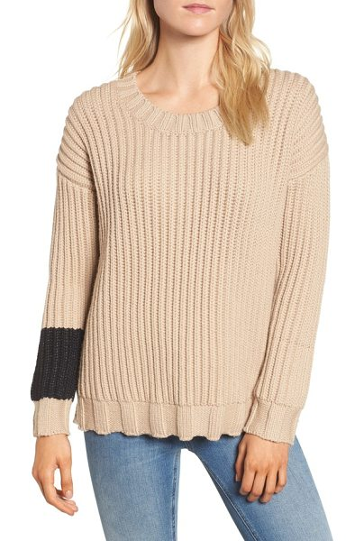 James Perse chunky armband sweater in beige/ black